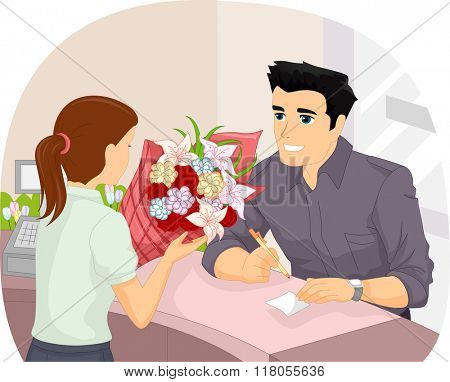 Illustration of a Man Writing a Note to Go Along with the Flowers He is Purchasing