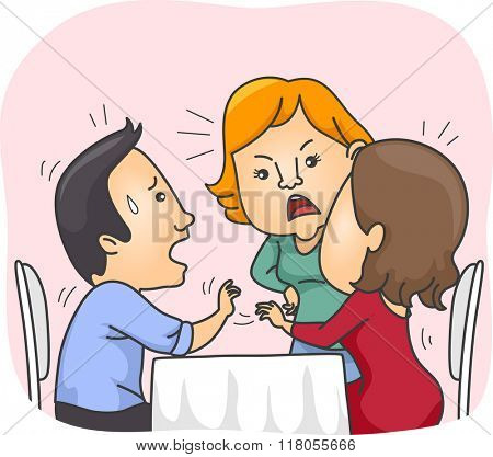 Illustration of a Girl confronting another Girl on a Date with her Lover