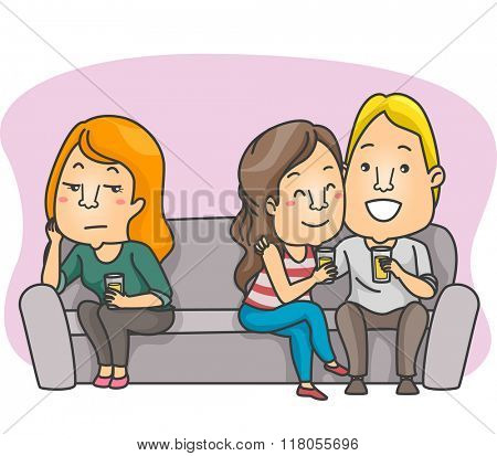Illustration of a Woman Getting Bored While Hanging Out with Her Friend and Her Boyfriend