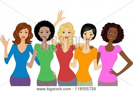 Illustration of Girls Wearing Brightly Colored Shirts