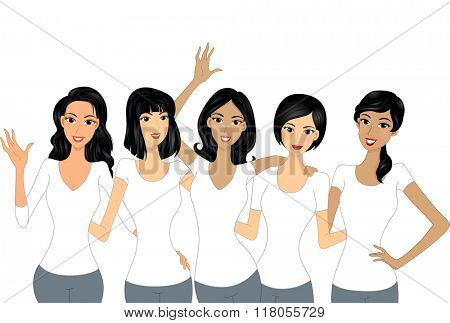 Illustration of Beautiful Girls Wearing White Shirts