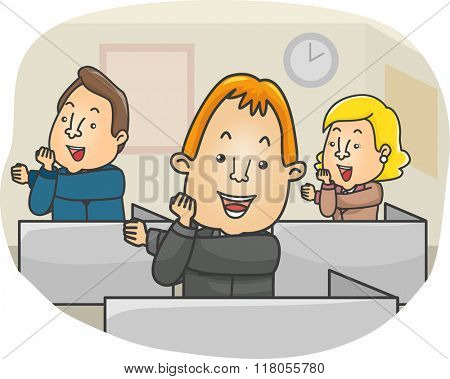 Illustration of a Group of People doing an Office Exercise