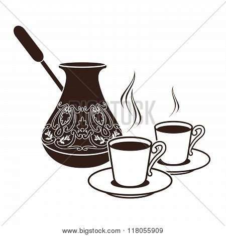 Hot Turkish Coffee Pots In Two Cups