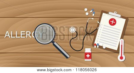 allergy concept with magnifying glass and medical record clipboard drugs
