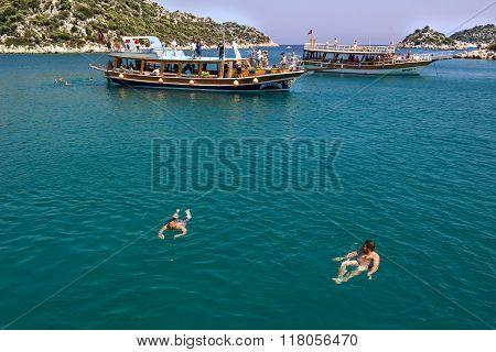 Kekova, Antalya, Turkey - August 26, 2014: : Seascape of Kekova which is an ancient Lycian region in