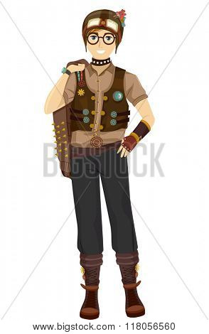 Illustration of a Teen Boy Wearing a Cool Steampunk Outfit