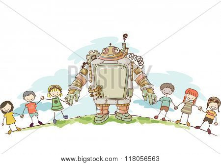 Illustration of a set of Kids Holding Hands with their Steampunk Robot