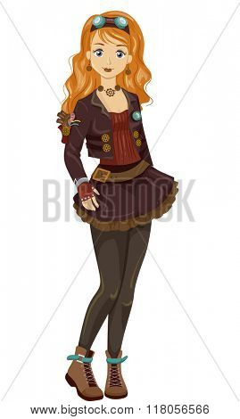Illustration of a Teen Girl Wearing Fantasy Steampunk Garments