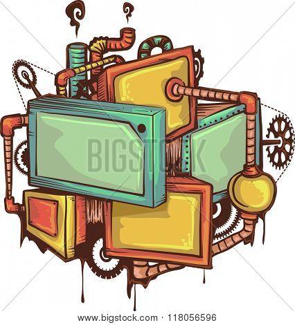 Illustration of a Machine Doodle Screens Frames
