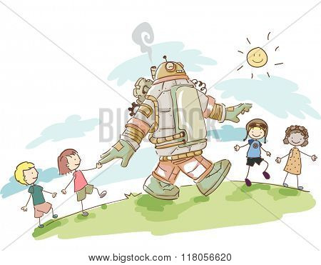 Illustration of Kids Having Fun Walking with their Steampunk Robot