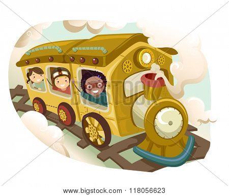 Illustration of Kids Riding On a Steampunk Train