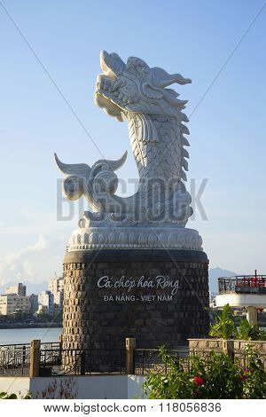 The sculpture of a dragon on the waterfront of the Han river. Da Nang, Vietnam