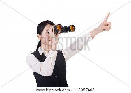 asian business woman holding a binoculars, closeup portrait