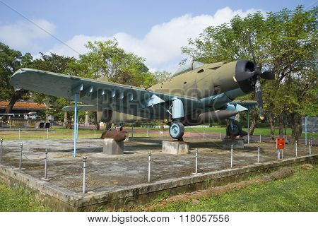 Aircraft AD-6 (Douglas A-1 Skyraider) in the Museum of hue city. Vietnam
