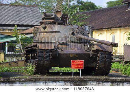 Shot down an American tank M 48 in Hue City Museum. Vietnam