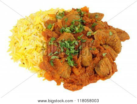 Lamb Rogan Josh Curry With Rice