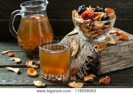 Compote Of Dried Fruits And Assorted Dried Fruits In Bowl