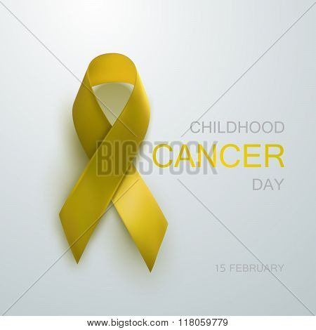 Childhood Cancer Awareness Yellow Ribbon.
