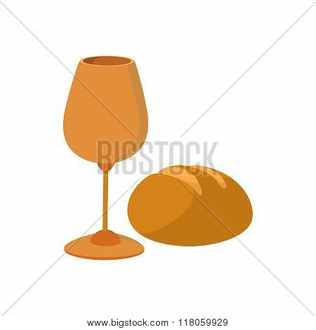 Chalice with wine, piece of bread cartoon icon