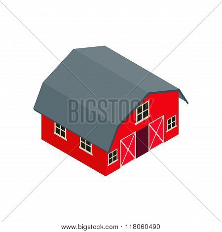 Wooden red  barn isometric 3d icon