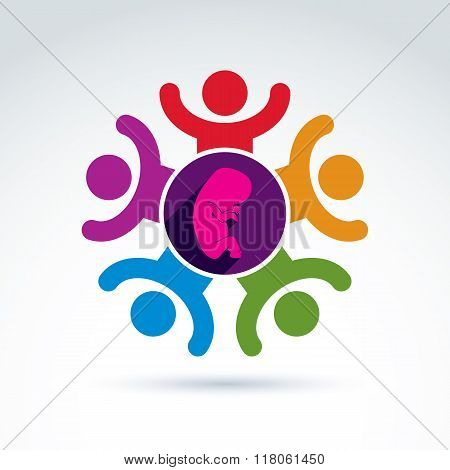 Pregnancy And Abortion Idea, Baby Embryo Symbol. Vector Colorful Illustration Of A Group Of Excited