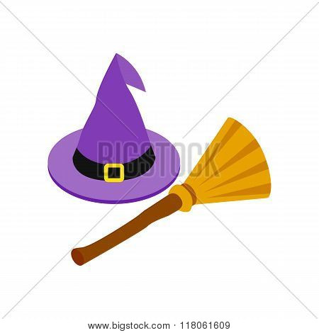 Witch hat and broom icon