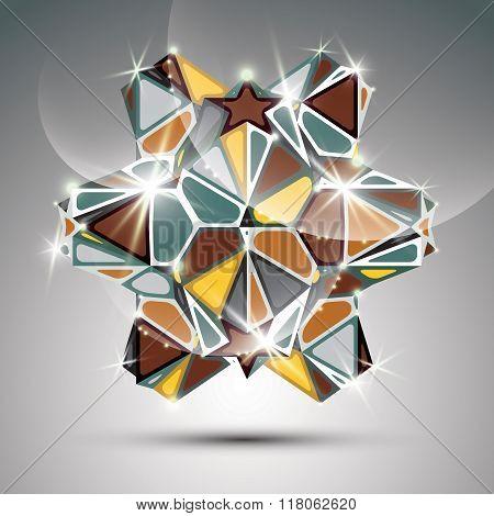 Party 3D Metal Glossy Kaleidoscope Object. Vector Festive Geometric Illustration - Eps10 Shiny Facet