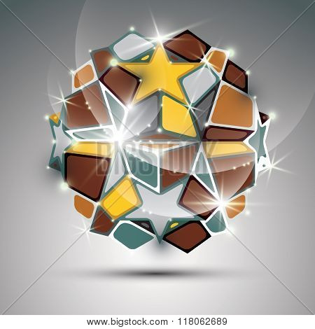 Dimensional Metal Dazzling Orb With Gold Stars. Vector Festive Geometric Illustration - Eps10 Shiny