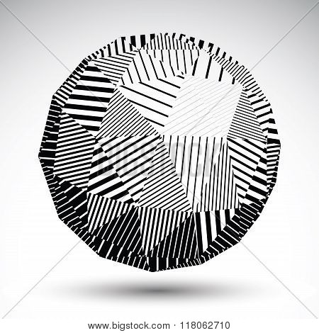 Geometric Spherical Structure With Black Parallel Lines. Striped Modern Science And Technology Orbed