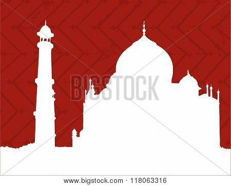 Silhuette of Taj Mahal temple