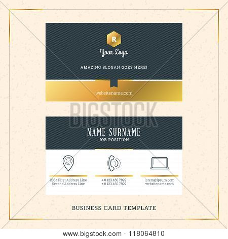 Modern Creative Golden Business Card Vector Template. Vector Illustration. Stationery Design. Gold A