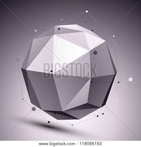 Geometric Monochrome Orbital Structure With Wire Mesh, Modern Scientific And Tech Background With As