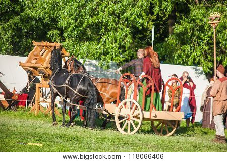 Celtic chariot in historical reenactment of Boudica's rebellion