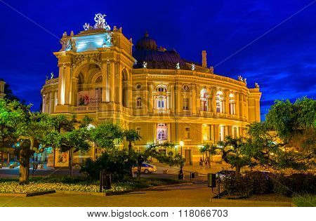 The Opera Theater In The Evening