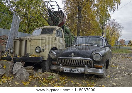 Old Russian Cars Volga Gaz 21 And Truck Gaz51