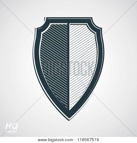 Vector grayscale defense shield protection design graphic element. Coat of arms.