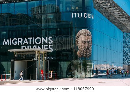 MUCEM building, civilizations museum of Europe and the Mediterranean Civilizations in Marseille, Fra