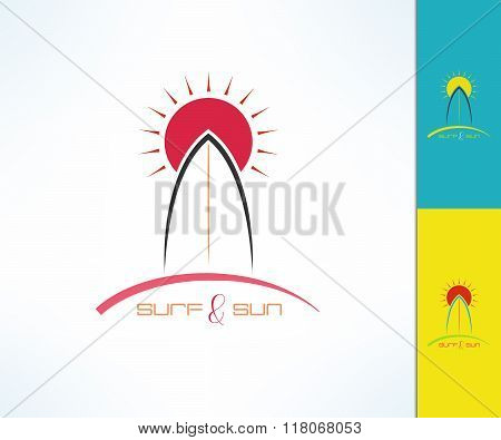 Set of vector surfing emblems with uneven line width. Surf and sun tshirt print. Surfboard design el