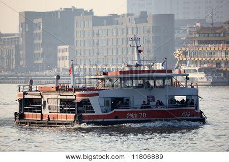 Ferry On Huangpu River In Shanghai