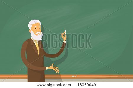 University Professor Lecture College Teacher at Classroom, Stand Over Green Board Holding Chalk