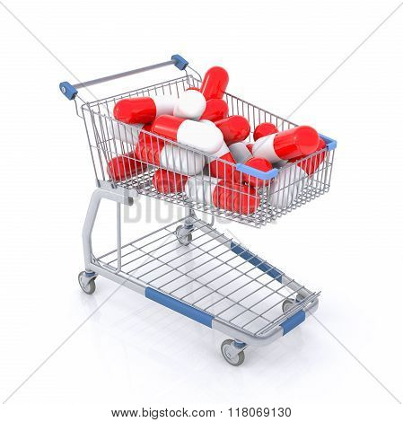 Isolated Shopping Cart Full With Red And White Capsules