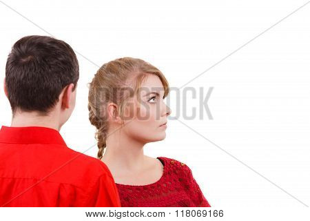 Couple After Quarrel Offended Sad Serious