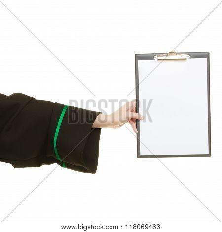 Woman Lawyer Holding Empty Blank Clipboard
