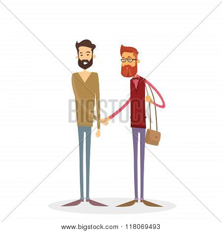 Two Men Shaking Hands Hipster Fashion Style Full Length