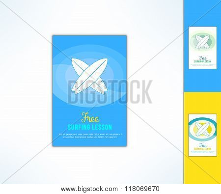 Vector surfing lesson ad flyer with in modern flat design. Surf class advertising design element