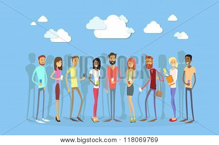 Students Group With Smart Cell Phone Social Network Communication