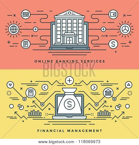 Flat line Banking and Financial Management Concept Vector illustration. Modern thin linear stroke ve