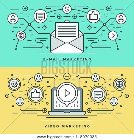 Flat line E-mail and Video Marketing Concept Vector illustration. Modern thin linear stroke vector i