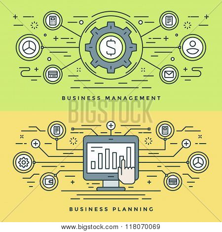Flat line Business Management and Planning Concept Vector illustration. Modern thin linear stroke ve