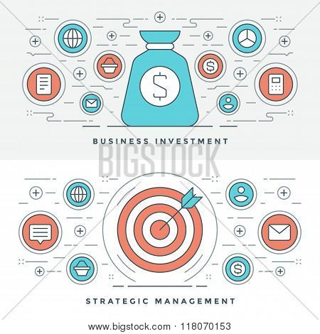 Flat line Strategic Management and Investment. Vector illustration. Modern thin linear stroke vector